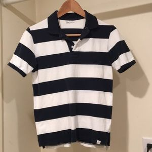 Gap Kids navy/white rugby stripe pique polo. Sz 12